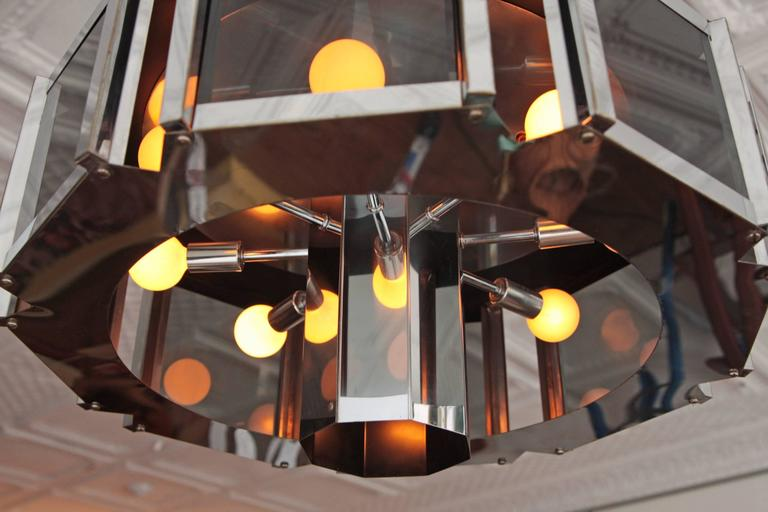 American Robert Sonneman Chandelier Chrome and Smoked Glass For Sale