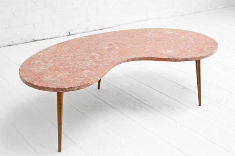 Rene Brancusi Pink Marble Brass Leg Kidney Mid Century Coffee Table 2