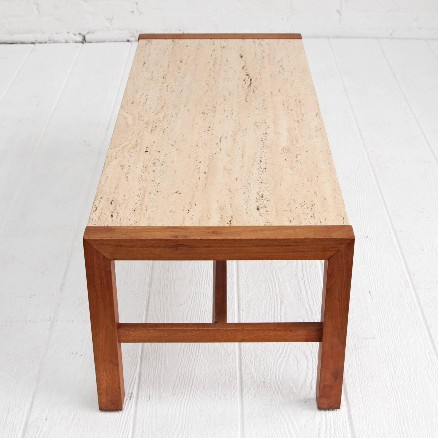 Solid Travertine Coffee Table: Travertine And Walnut Midcentury Coffee Table At 1stdibs