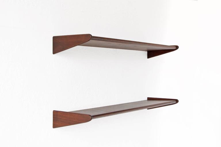 Mid Century Modern Pair Of Danish Walnut Floating Shelves For