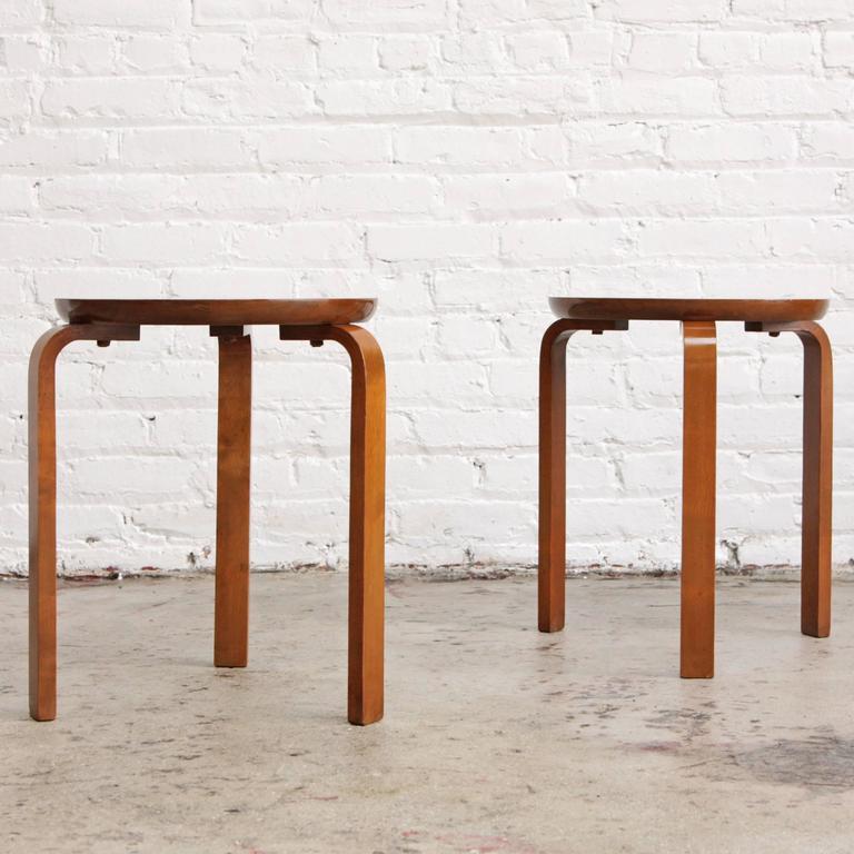 Teak Scandinavian Modern Stools Alvar Aalto Style At 1stdibs