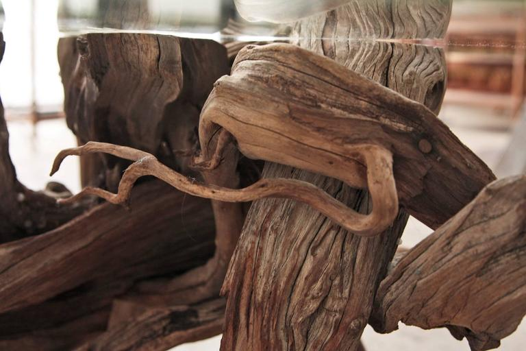 Driftwood Coffee Table Round Glass Top At 1stdibs