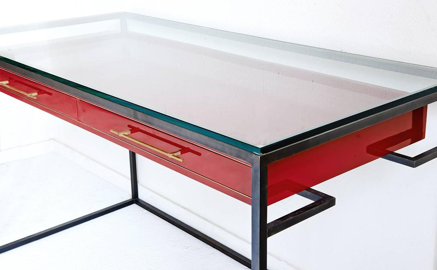 Red enamel floating drawer desk for sale at 1stdibs for Floating desk for sale