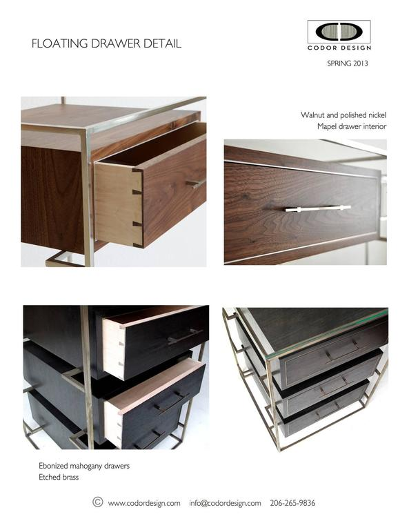 Beautifully constructed drawers float in this uniquely exposed frame. Deconstructing the Classic dresser allows the floating drawer dresser to feel modern and airy. Each drawer is built with traditional dovetails and metal inlay, bringing together