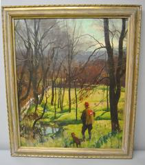 Oil on Canvas by Harry Leith-Ross Hunter and Dog