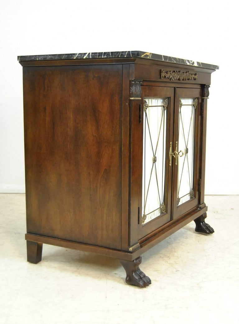 Pair of New St Laurent Empire Style Marble-Top Double Door Cabinets ...