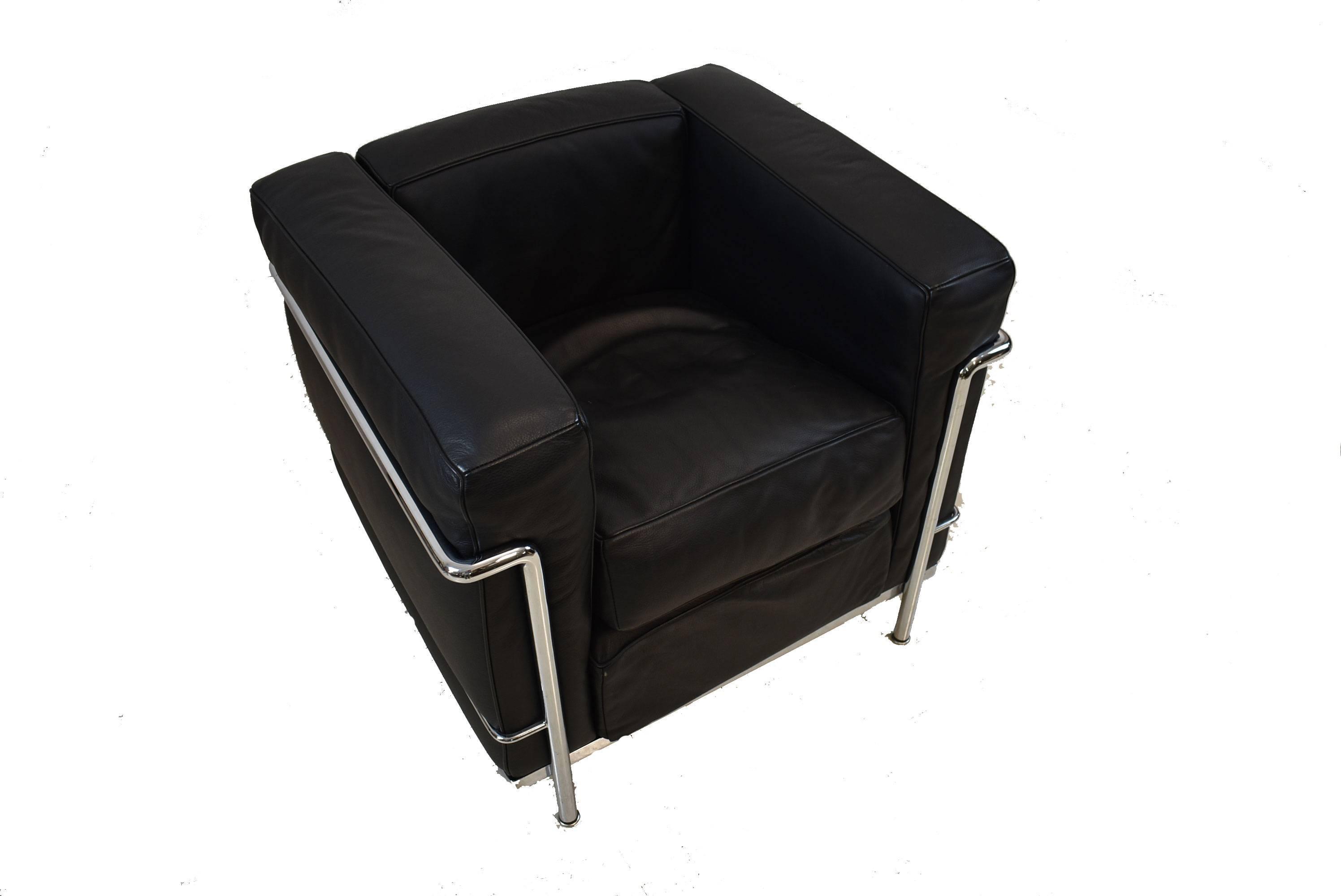 LC2 Cassina LeCorbusier Black Leather Chrome Armchair 2
