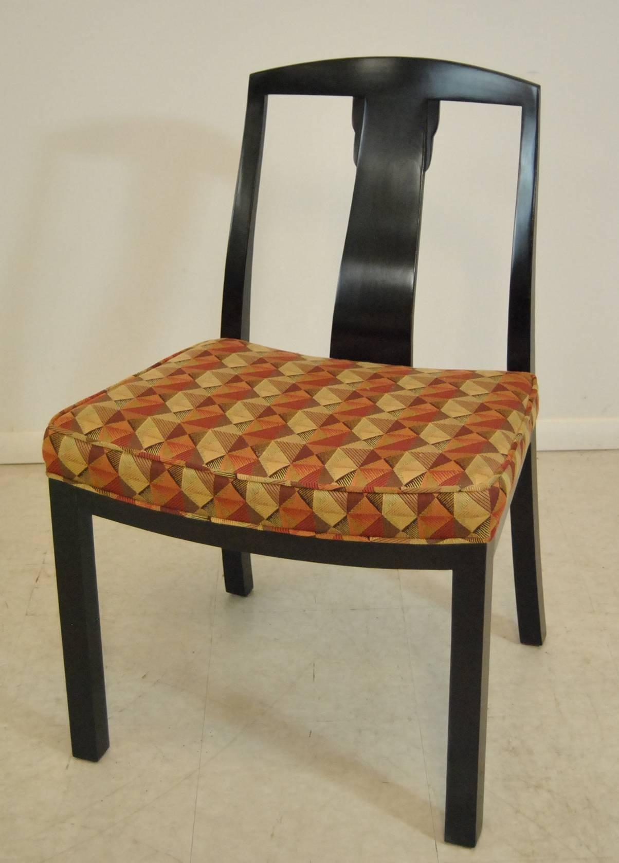 An Unusual Set Of Six Dining Chairs By Baker. Chairs Are Done In A Dark