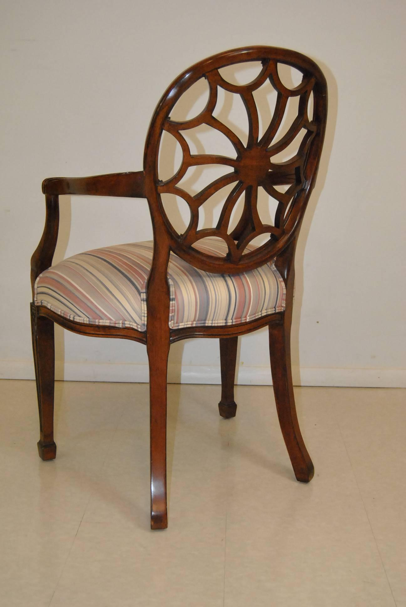 American Mahogany Regency Style Spider Back Side Chair By Sherrill  Furniture For Sale