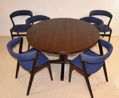 """Round Rosewood Danish Modern Table with Six Kai Kristiansen """"Fire"""" Chairs"""