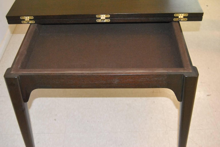Mid-20th Century Mid Century Ebonized Flip Top Game Table by Edward Wormley for Dunbar For Sale