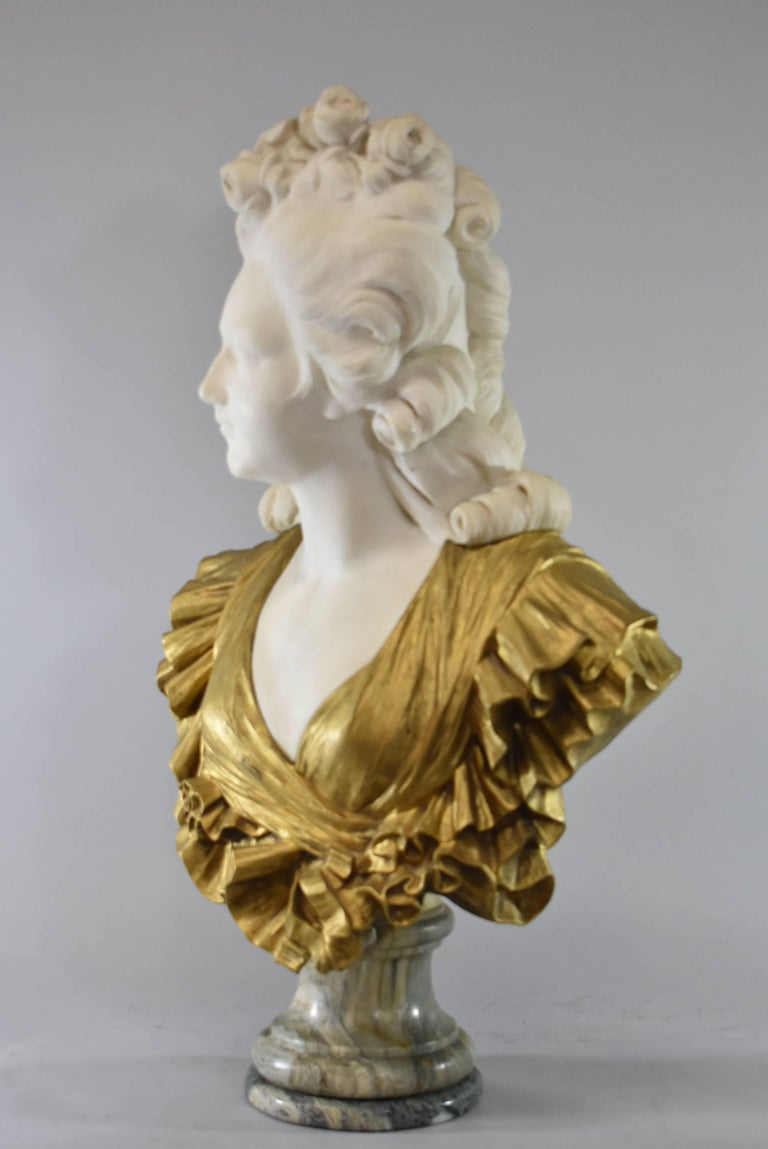 19th Century French Gilt Bronze and Marble Female Figural Bust 1