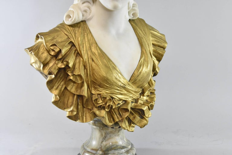 19th Century French Gilt Bronze and Marble Female Figural Bust 2