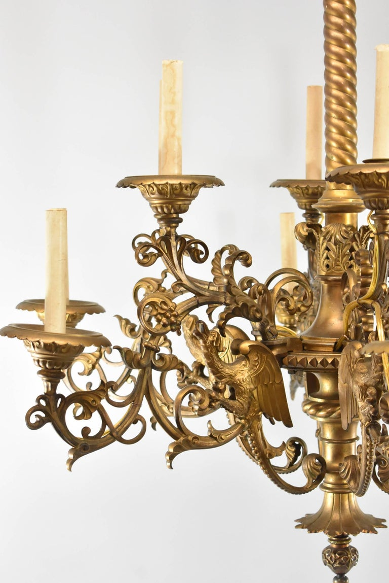 Large Gothic / Rococo Bronze Six-Arm 12-Light Chandelier with Mythical Bird For Sale 1