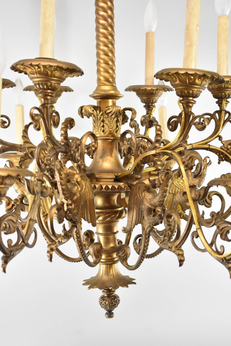 Large Gothic / Rococo Bronze Six-Arm 12-Light Chandelier with Mythical Bird For Sale 5