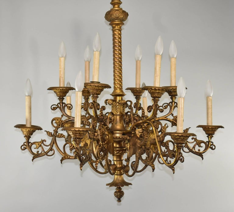 19th Century Large Gothic / Rococo Bronze Six-Arm 12-Light Chandelier with Mythical Bird For Sale