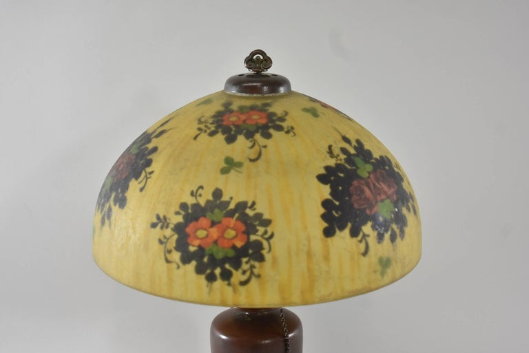 American Signed Reverse Painted Boudoir Lamp by Handel with Floral Scene For Sale