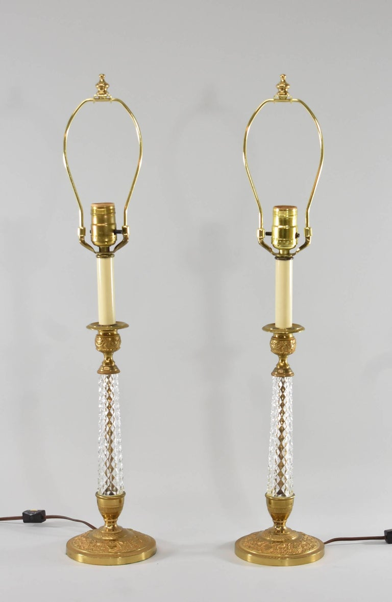 Pair of Cut-Glass and Embossed Metal Boudior Lamps In Good Condition For Sale In Toledo, OH