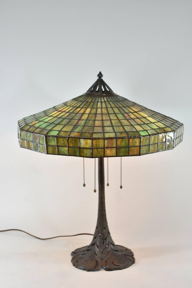 A stunning Handel leaded glass lamp. The 20