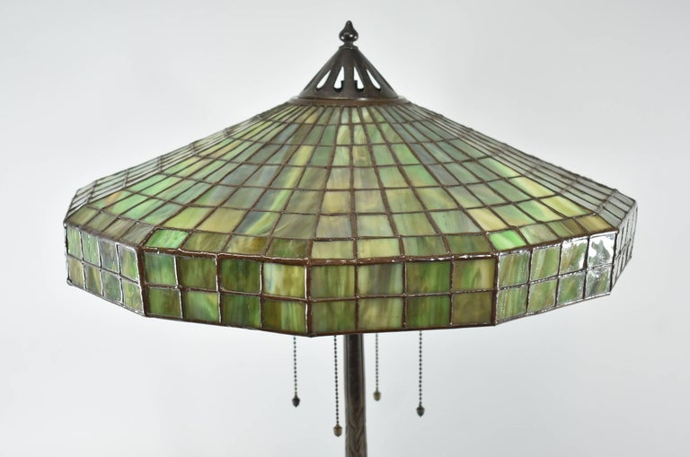Arts and Crafts Signed Handel Leaded Glass Lamp with Peacock Base Shade For Sale