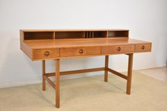 Danish Teak Flip Top Parnter's Desk by Peter Lovig Nielsen