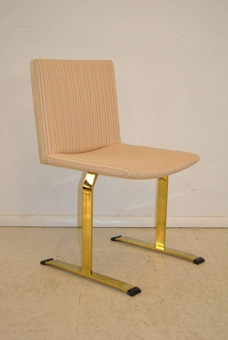 Mid-Century Modern Set of Six Brass Italian Chairs Designed by Giovanni Offredi for Saporiti For Sale