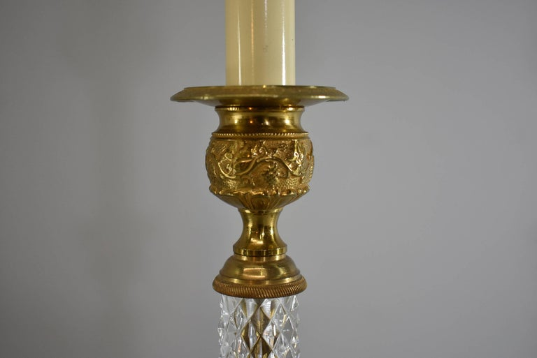 20th Century Pair of Cut-Glass and Embossed Metal Boudior Lamps For Sale