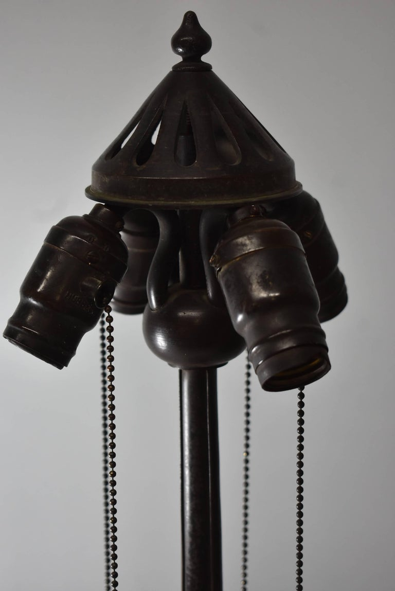 20th Century Signed Handel Leaded Glass Lamp with Peacock Base Shade For Sale