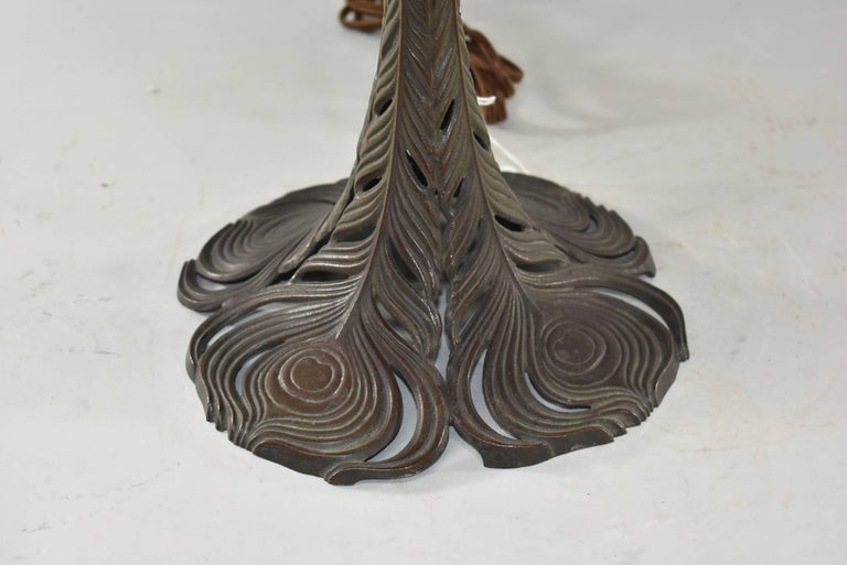 American Signed Handel Leaded Glass Lamp with Peacock Base Shade For Sale