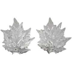 Pair of Crystal Lalique Champs Elysees Wall Sconces