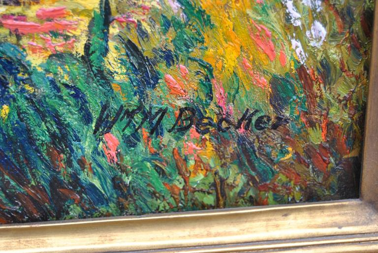 Impressionistic Landscape Oil on Canvas by W.M. Becker in Newcomb Macklin Frame For Sale 1