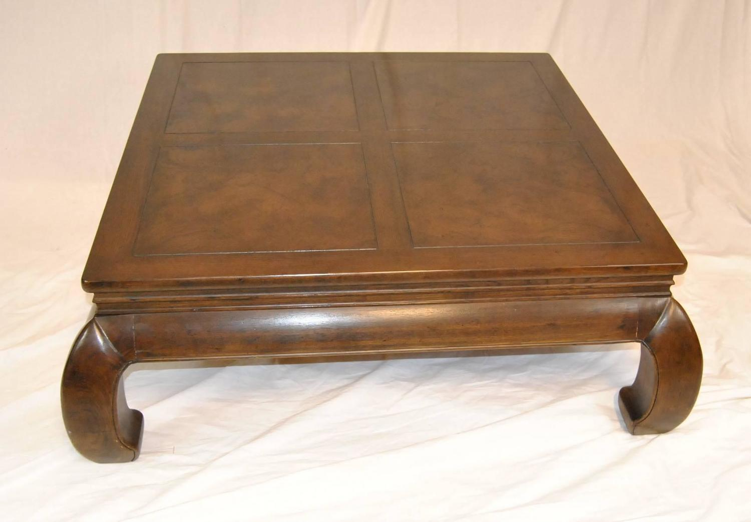 Asian Inspired Burled Ash Coffee Table At 1stdibs