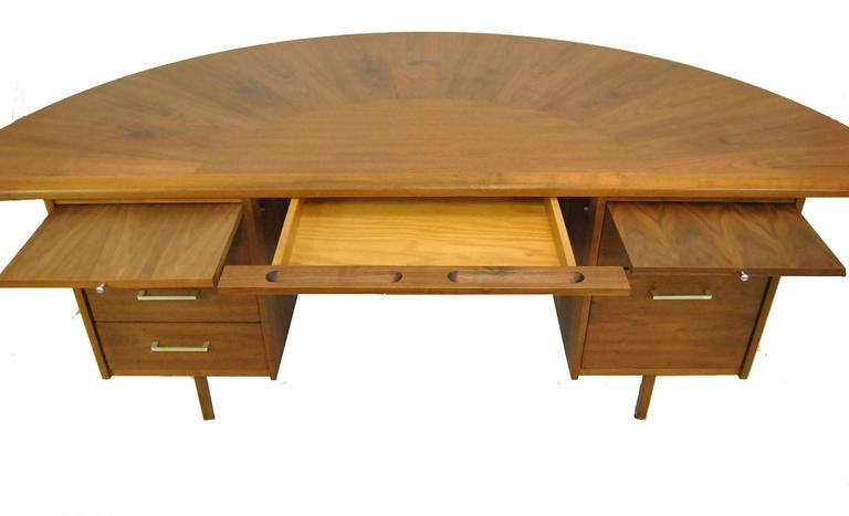 Mid Century Executive Desk W Curved Top By Wood Design Of