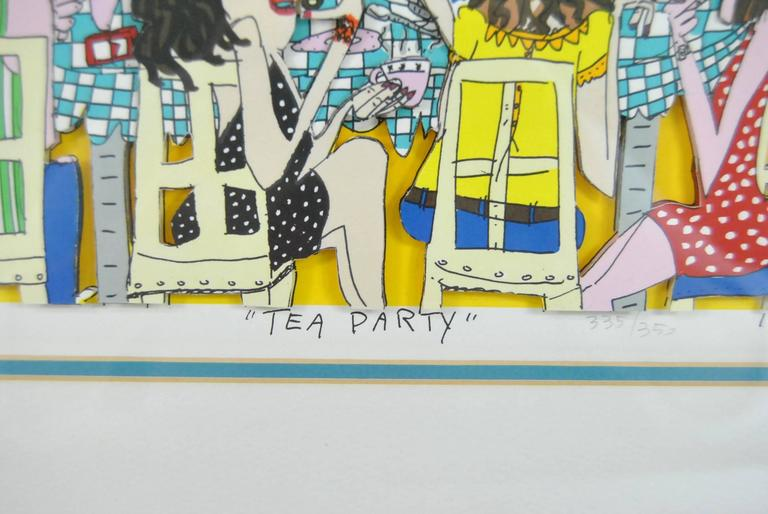 American Modern James Rizzi Tea Party 3-D 1990 Hand-Cut Signed and Numbered Lithograph For Sale