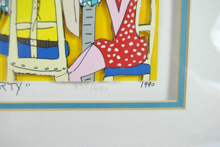American James Rizzi Tea Party 3-D 1990 Hand-Cut Signed and Numbered Lithograph For Sale