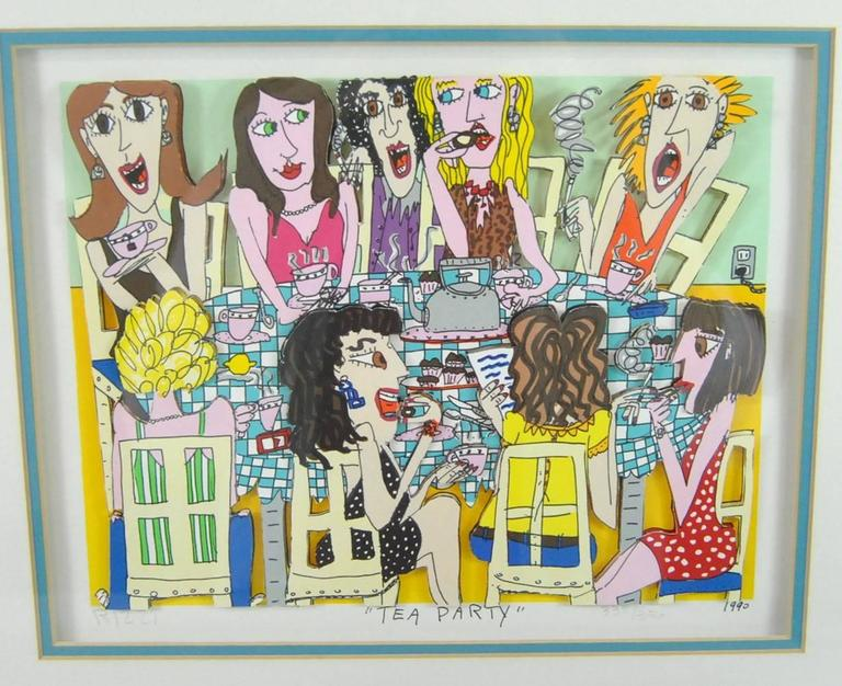 James Rizzi Tea Party 3-D 1990 Hand-Cut Signed and Numbered Lithograph In Good Condition For Sale In Toledo, OH