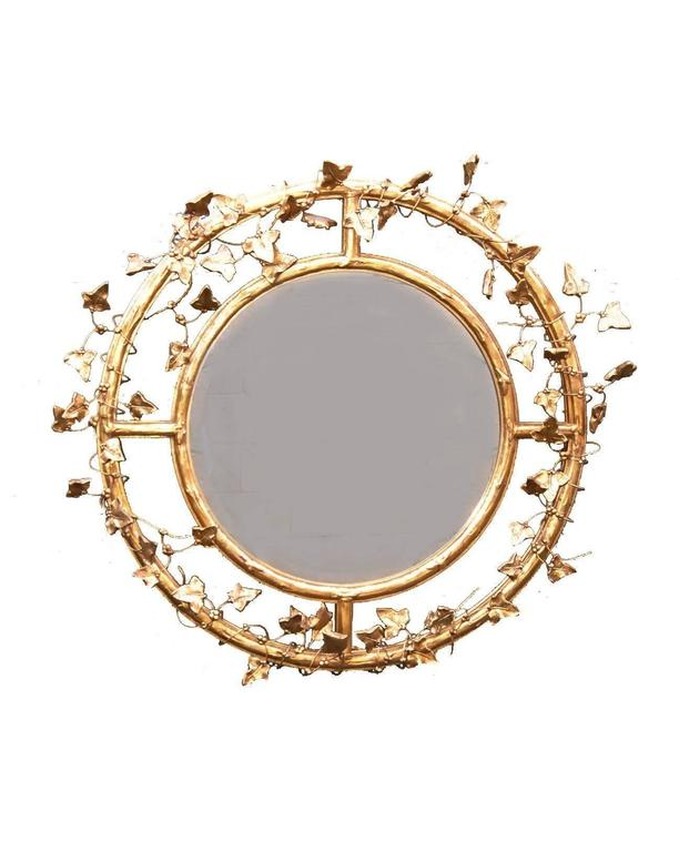 A Fine Pair Of Round Beveled Mirrors Handcrafted By Friedman Brothers They Feature Double