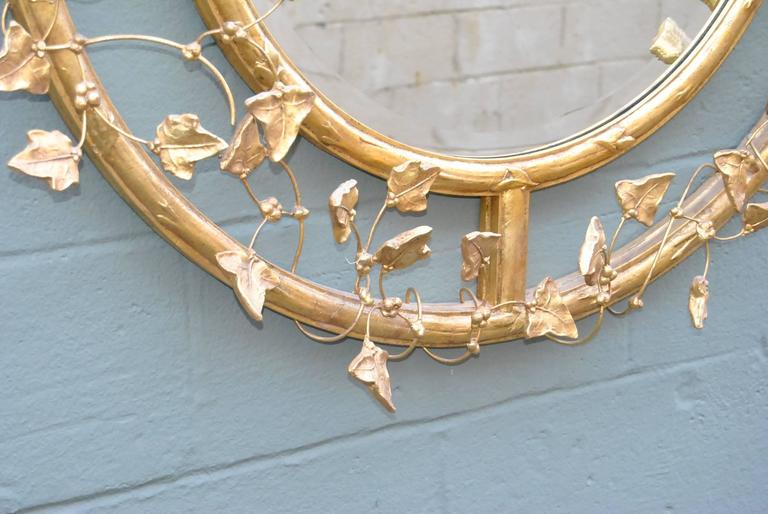 20th Century Pair of Giltwood Round Beveled Mirrors by Friedman Brothers For Sale