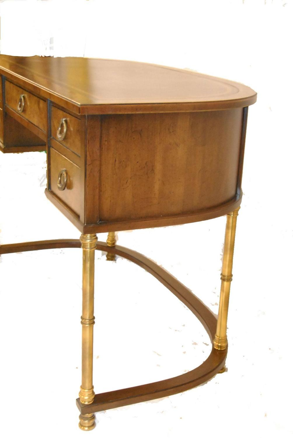 Burled Walnut and Brass La s Writing Desk by Sligh For