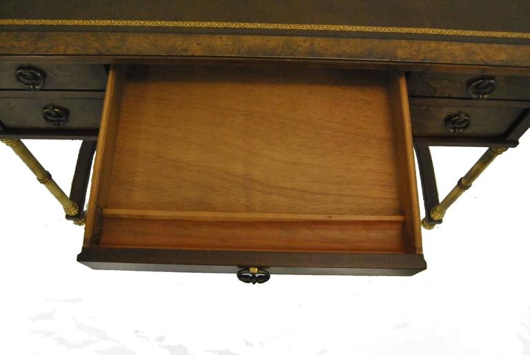 Burled Walnut And Brass Ladies Writing Desk By Sligh For