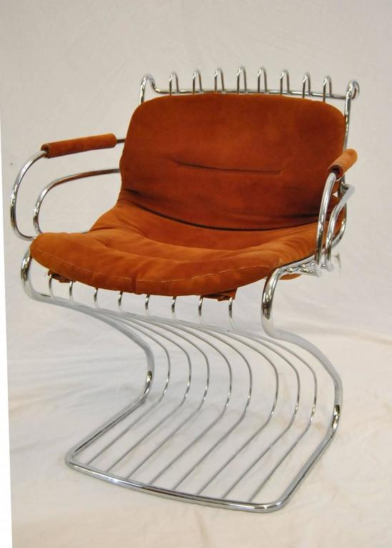 A Great Set Of Mid Century Modern Chrome Wire Chairs Designed By Gastone  Rinaldi For
