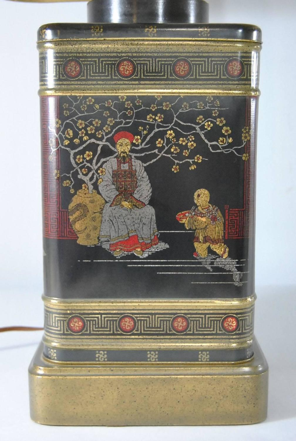 Pair Of Black Asian Themed Tin Tea Canister Table Lamps By