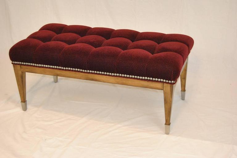 Upholstered Burgundy Mohair Nailhead Trim Bench By Swaim