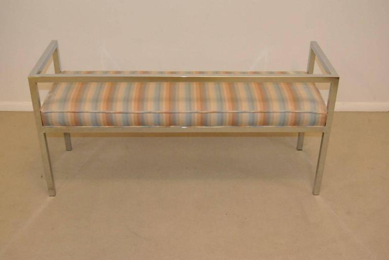 A fantastic Mid-Century Swaim design chrome bench, circa 1976. This bench features square chrome tubing and a nice striped fabric. It has been reupholstered and the tag is missing. It is in very good condition with no pitting. A solid piece that