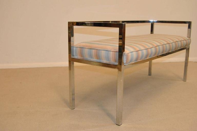 American Mid-Century Modern Swaim Design Chrome Bench, circa 1970s For Sale