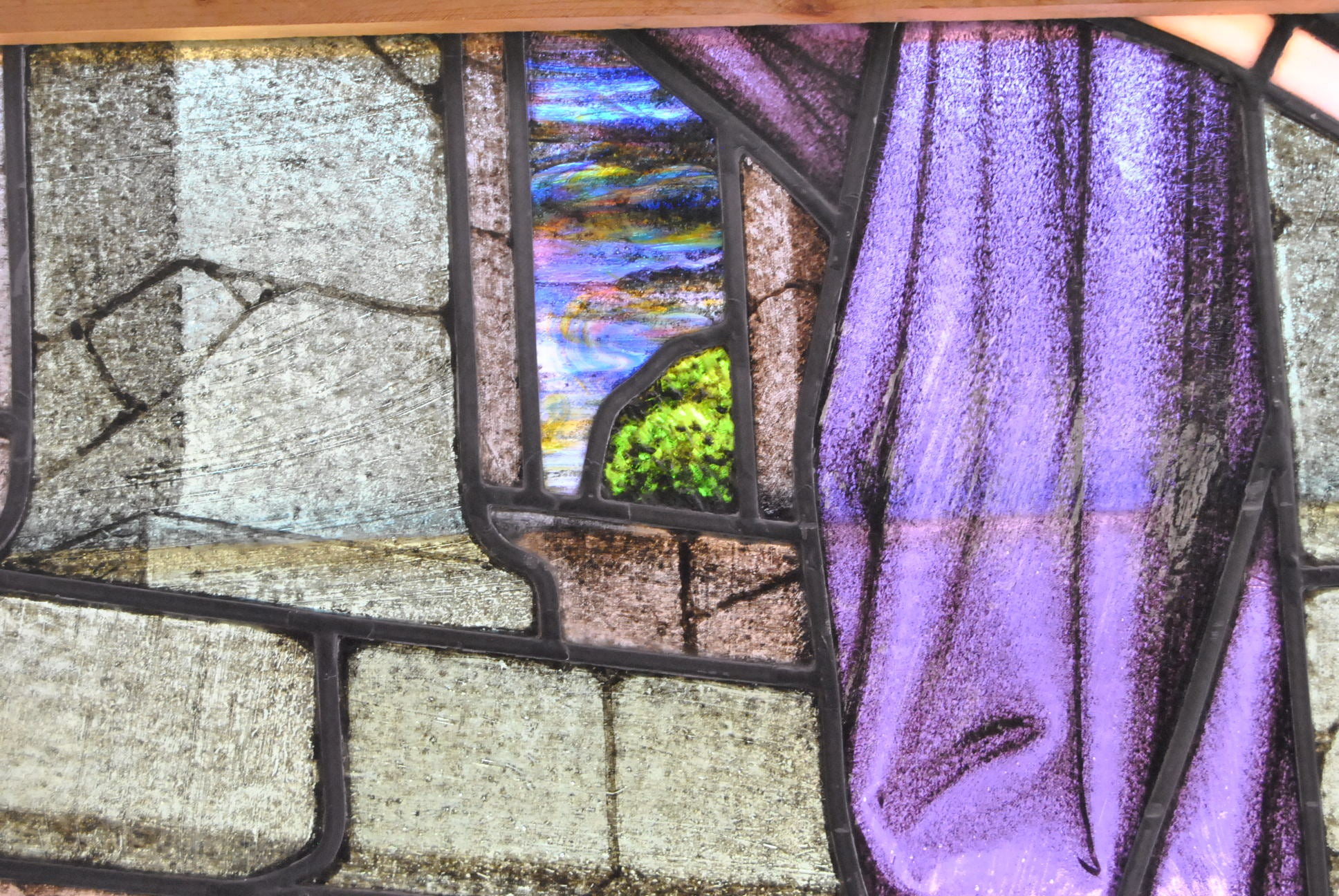 Large Hand Painted Stained Gl Window Young Teaching In The Temple For At 1stdibs