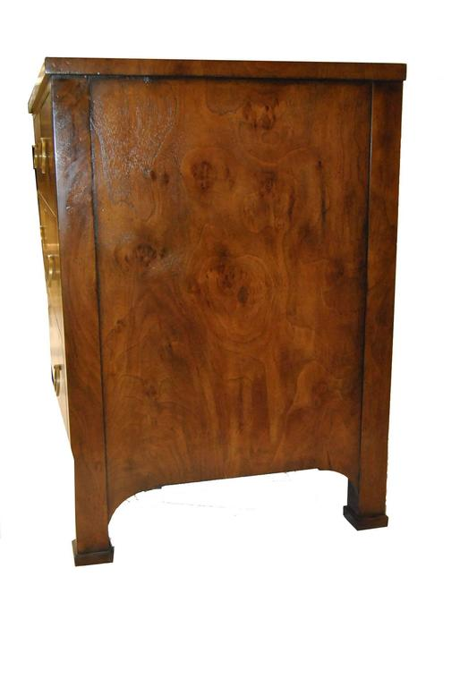 Three Drawer Burled Walnut Commode Chest By Modern History