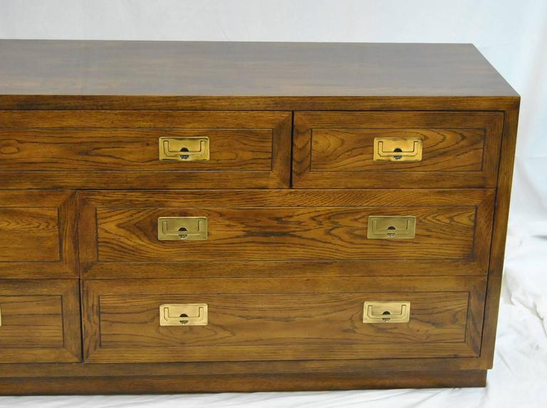 A Great Campaign Style Seven Drawer Oak Dresser By Henredon This Is Part Of