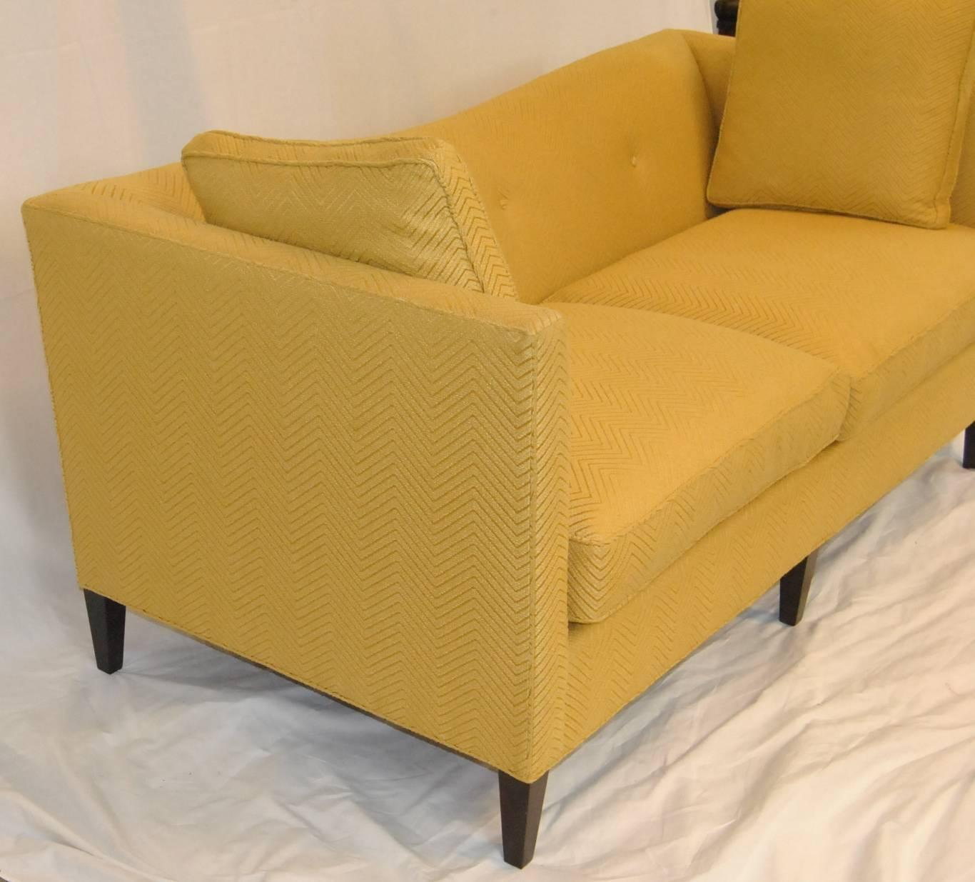 French Tuxedo Butter Yellow Sofa By Baker Furniture, Baker