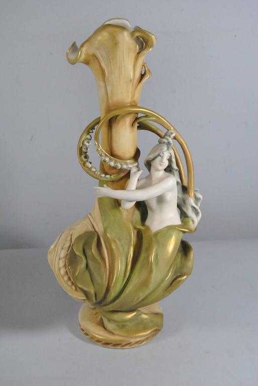Late 19th Century Pair Of Imperial Amphora Art Nouveau Vases Lily With Girls For Sale At 1stdibs